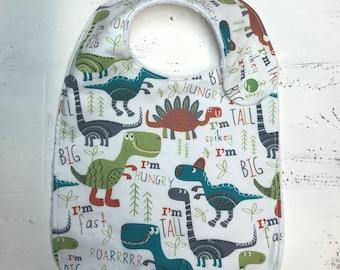 Dinosaurs infant bib-baby bib-toddler bib-drool bib-dribble bib-teething handmade baby bib-baby shower gift