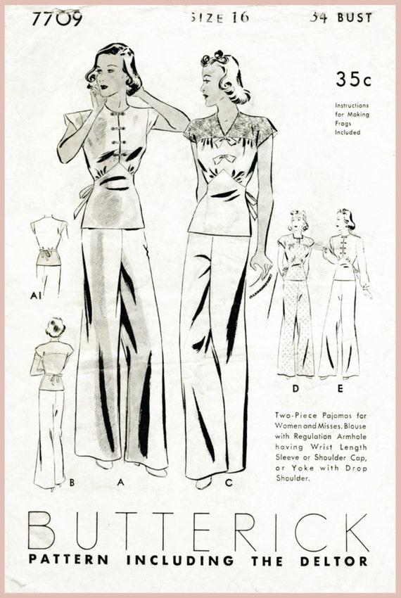1930er Jahren 30er Jahre Jahrgang Pyjama Nähen Muster