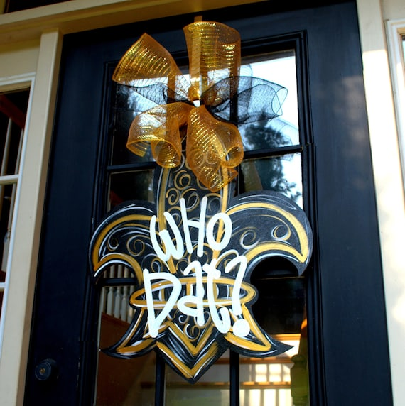 New Orleans Home Decor Stores: Saints Football Door Hanger Fleur De Lis Wreath New Orleans