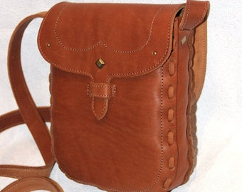 Tan Leather Cross Body Bag, Everyday Leather Purse, Small Travel Bag, Leather Shoulder Bag