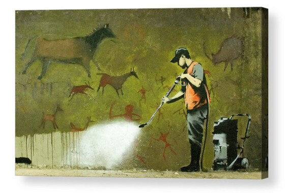 Banksy Erasing History Canvas Box Art A4 A3 A2