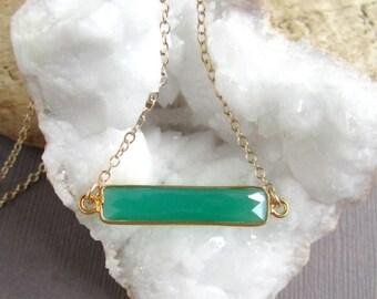 Green Agate Bar Necklace Sideways Gemstone Pendant 14K Gold Fill