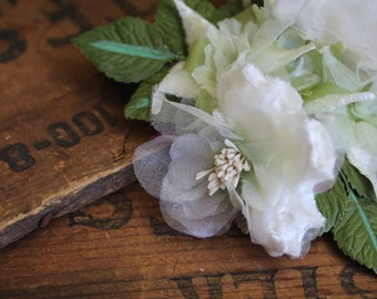"""White Floral Clip for Womens Hair, Bridal Flower Hair Clip, Wedding Hair Accessory, 1950s Brides Hair Fascinator - """"Cloaked in Clouds"""""""