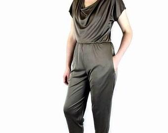 Vintage 1980's Bronze Slinky Disco Jumpsuit, Modern Size 8, Small