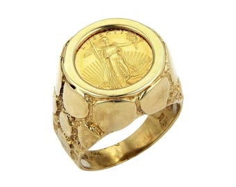 20365 - 22k Liberty Coin in 10k Yellow Gold Nugget Ring