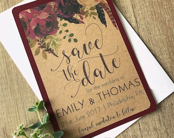 Burgundy Floral Save the Date Card, Custom Wedding Save the Date, Wedding invitation Set, Rustic Save the Date, Save Our Date, Wedding Card