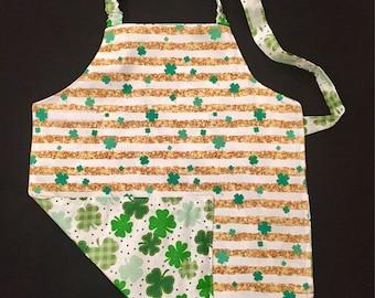 St Patrick's Day shamrocks waterproof kids apron and art smock