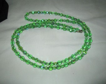 "Vintage Beautiful Austrian Crystal Necklace Multi faceted Green crystals Mid Century 40"" long"