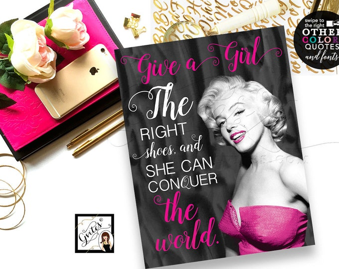 Marilyn Monroe quote, poster, wall art, CUSTOMIZABLE Marilyn Monroe quotes, other colors and quotes available. 8x10 PRINTABLE.