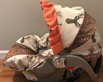 Faux deer hide skin & floral stag in tulip buck head sillouett baby infant carseat cover with free monogram