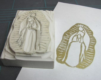 Virgin Mary Guadalupe Hand-Carved Rubber Stamp