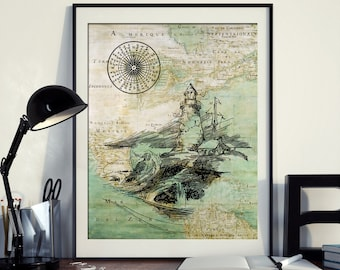 Vintage Map of North America Lighthouse Compass Ocean Seaside Nautical Poster Instant Download Printable A4 A3 8×10 & 11x14 Wall HQ300dpi