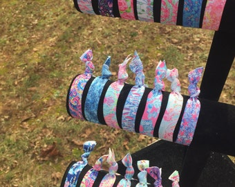 Lilly Pulitzer Inspired Elastic Hair Ties |  Lilly Pulitzer Hair Elastic | Lilly Pulitzer Ponytail Holder | Elastic Hair Tie | Greek | Prep