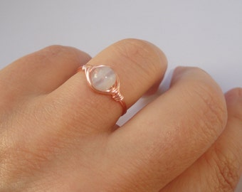 Moonstone ring Rose gold wire wrapped moonstone ring