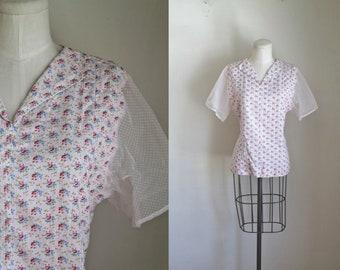 vintage 1930s blouse - SUGAR SACK sheer sleeve floral top / M