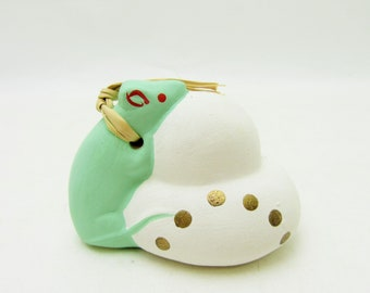 Dorei.Earthenware Bell.Cute mouse.by Masanobu Ogawa.Japanese Folk Art.Hand paint.#eb37.msjapan