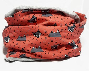 """Infinity Scarf for Humans - """"Fox"""" - Extra Soft and Warm Loop Scarf - Fun/Cute/Cool Scarves - Salmon/Grey - Cool Scarves - Hipster Scarf"""