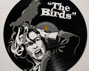 hand painted the birds vinyl record wall art