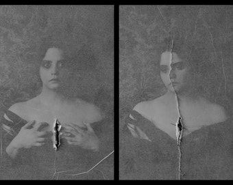 Still Ending and Beginning Still - Limited Edition Prints FREE SHIPPING Mixed Media Black & White Portraits Surreal Photo Ripped Diptych