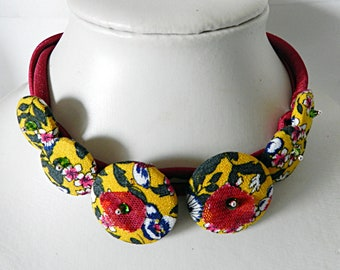 Necklace beads yellow floral fabric, textile cord