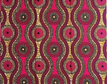 Fuchsia Supreme Wax Holland Fabrics per yard/ Optical Illusion fabric/ African fabrics for sewing/ African fabrics