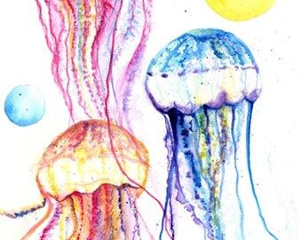 jellyfish watercolor, under the sea art, watercolor painting, jelly fish painting, jellyfish art, ocean art, Hawaii art, jellyfish paintings