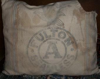 """Primitive """"FULTON"""" Feedsack Pillow"""