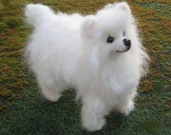Needle Felted Dog / Custom Pet Portrait / Handmade Poseable example Pomeranian Crystal