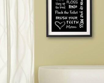 Kids Bathroom Art Decor Bathroom Artwork Printable Art Print Instant Download Bathroom Wall Quote Sign Black and White Rules
