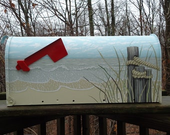 Hand Painted Sea grass  Mailbox, Beach Decor, great Housewarming Gift!