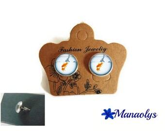 Earrings red fish, aquarium, silver studs, gift idea, 3321 glass cabochons