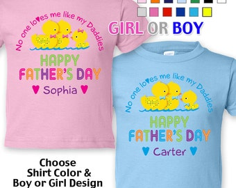 Happy Father's Day T-Shirt - No One Loves me Like my Daddies - Girls/Boys Toddler - Personalized with Name (Gay / Lesbian / 2 Daddies)