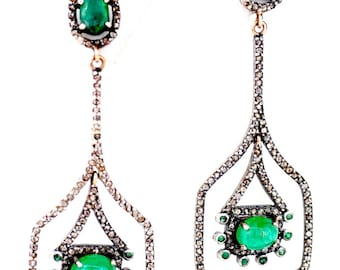 Vintage 14kt gold and silver 11 ct Zambian Emerald Diamond Earrings !!