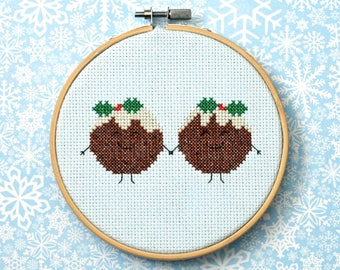 "Christmas cross stitch pattern: ""Plum Puddings""-cross stitch pdf pattern, christmas pudding cross stitch, holiday pattern - INSTANT DOWNLOAD"