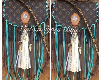 Turquoise fringe Louis Vuitton crossbody