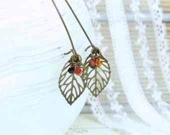 Leaf Earrings Woodland Earrings Fall Earrings Leaf Dangle Earrings Autumn Earrings Fall Jewelry Autumn Gift
