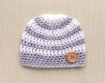 Striped Baby boy hat Crochet newborn hat for Boy Newborn photo prop hat Newborn boy beanie hat Newborn baby boy gift Infant New born outfit