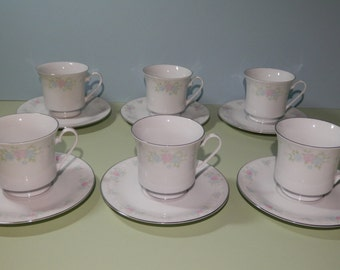12 Piece Cup Saucer Service Set of 6 Prestige China Garden Pattern 1980s White Rose Pink, Powder Blue Pedestal Serving Coffee Tea Dinnerware