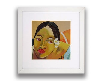 Gauguin style: When are you getting married? -Picture frame-Acrylic painting
