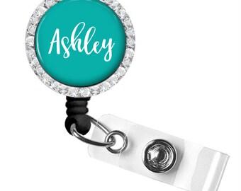 Personalized Badge Reel Holder Aqua  Style 382