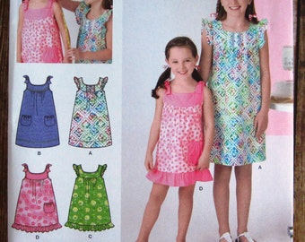 Easy Sew Girls Sleeveless Summer Dress 4 Styles, Two Lengths Sizes 7 8 10 12 14 Simplicity Pattern 2241 UNCUT