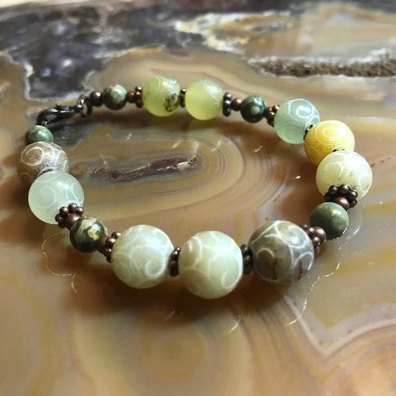 Carved Natural Jade in Copper Bracelet