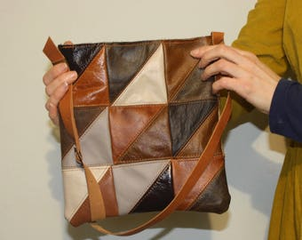 Leather patchwork cross body bag