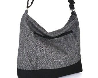 Grey crossbody bag women shoulder bag zipper hobo purse convertible purse gift for her ready to ship large slouch bag grey shoulder bag