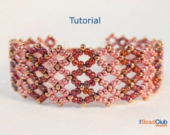 Right Angle Weave Patterns - Beaded Bracelet Patterns - Seed Bead Patterns - Beadweaving Patterns - Beading Tutorials - Striped Bracelet