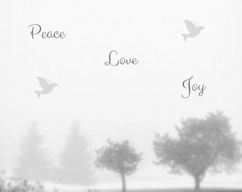 Peace Love Joy Photo Greeting Card, 4x5 christmas cards, blank inside, merry christmas, festive holiday card winter seasonal tree greetings