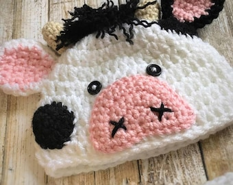 Baby Cow Outfit, Crochet Cow Set, Baby Cow Hat, Farm Animal Hat, Crochet Baby Outfit, Newborn Photo Prop, Newborn Halloween Costume, Cow Hat