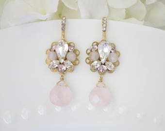 Rose quartz gemstone earrings, Vintage style earrings, Blush and gold wedding earrings,  Rhinestone bridal earrings, Pink gemstone jewelry