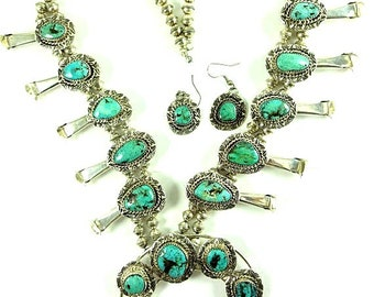 Squash Blossom Necklace With Tyrone Turquoise Signed - FREE SHIPPING