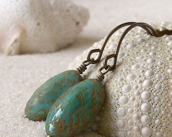 Boho Earrings- Beaded Earrings- Handmade Jewelry - Turquoise Earrings - Rustic Earrings - Drop Earrings - Bead Earring - Dangle Earrings